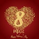 8 hälsningkort för mars med guld- hjärtor på rött Lycklig dag för kvinna` s vektor Arkivfoto
