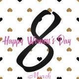 8 hälsningkort för mars med guld- hjärtor på rött Lycklig dag för kvinna` s vektor Royaltyfri Fotografi
