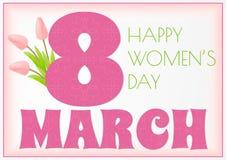 Hälsningkort för mars 8 med realistiska delikata rosa tulpan Vektor av inbjudan, affischkort för dag för kvinnor s stock illustrationer