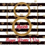 8 hälsningkort för mars med skriftlig text för guld- hand Lycklig dag för kvinna` s vektor Royaltyfri Bild