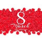 Hälsningkort för 8 mars på vit bakgrund Broschyr för lyckliga kvinnors dag petals steg också vektor för coreldrawillustration stock illustrationer