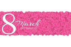 Hälsningkort för 8 mars på vit bakgrund Broschyr för lyckliga kvinnors dag Tulip Petals också vektor för coreldrawillustration vektor illustrationer