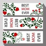 Hälsningkort för mors dag- eller mammas lyckönskan för en gå Arkivfoton