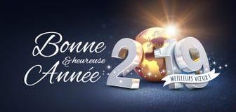 Hälsningkort 2019 för nytt år i franska stock illustrationer