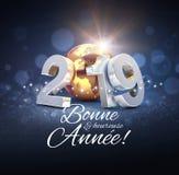 Hälsningkort 2019 för nytt år i franska vektor illustrationer
