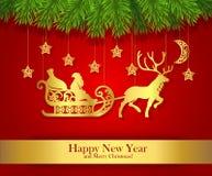 Hälsningkort för nytt år med den guld- konturn av Santa Claus Arkivbild