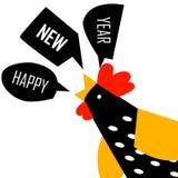 Hälsningkort för nytt år med den ljusa tuppen stock illustrationer