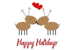 Hälsningkort för nytt år med dragit av två deers, isolerat på vit Goda för banret för julferieparti, inbjudan vektor illustrationer