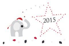 Hälsningkort för nytt år med elefanten och stjärnor Arkivbild
