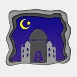 hälsningkort för Ramadan 3d med halvmånformigt i djupblå natthimmel och moské arabisk prydnad Ramadan Kareem festival Royaltyfri Foto