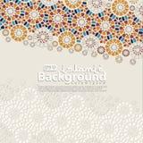Hälsningkort för Ramadan Kareem och Ied Mubarak Islamiskt dekorativt av mosaikbakgrundsillustrationen stock illustrationer