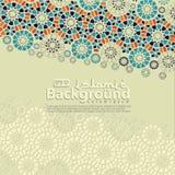 Hälsningkort för Ramadan Kareem och Ied Mubarak Islamiskt dekorativt av mosaikbakgrundsillustrationen vektor illustrationer