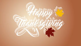 hälsningkort för tacksägelse 4K med lycklig tacksägelsebokstävertext Kort för Ifinity öglastacksägelse Vit text medf8ort royaltyfri illustrationer