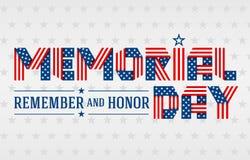 Hälsningkort för USA Memorial Day också vektor för coreldrawillustration Arkivfoton