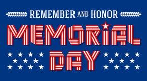 Hälsningkort för USA Memorial Day också vektor för coreldrawillustration Arkivbild