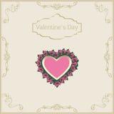 Hälsningkort för valentin dag i tappning Arkivfoto