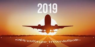 Hälsningkort 2019, flygplan på en start- och landningsbana stock illustrationer