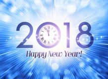 Hälsningkort 2018 i rätt tid royaltyfri illustrationer