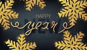 Hälsningkort, inbjudan med det lyckliga nya året 2019 Skriftlig hand stock illustrationer