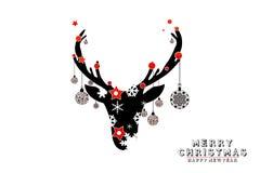 Hälsningkort, julbollar illustration lyckligt nytt år Royaltyfri Fotografi