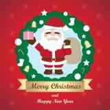 Hälsningkort, julkort med Santa Claus vektor illustrationer