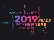 2019 - Hälsningkort - lyckligt nytt år royaltyfri illustrationer