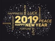 2019 - Hälsningkort - lyckligt nytt år stock illustrationer