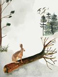 Hälsningkort med bakgrund av skogen och berg Tema för barn` s Vykort med en hare djurliv stock illustrationer