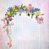 Hälsningkort med blommor royaltyfri illustrationer