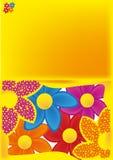 Hälsningkort med blommor Royaltyfria Bilder