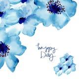 Hälsningkort med blommor i vattenfärg Arkivfoto