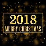 Hälsningkort med bollar för glad jul för en stor guld- inskrift och färgjulmed snöflingor på en magisk bakgrund med Royaltyfria Bilder