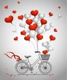 Hälsningkort med cykeln Arkivfoton