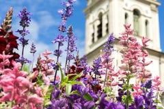Hälsningkort med den färgrika blomman och kyrkan härlig blommasommar royaltyfri fotografi