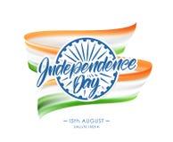 Hälsningkort med den indiska flaggan och handbokstäver av den lyckliga självständighetsdagen 15th August Salute India stock illustrationer