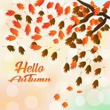 Hälsningkort med den inskriftHello hösten och hand drog vattenfärgnedgångsidor stock illustrationer