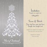 Hälsningkort med det Christmass trädet, guld Royaltyfria Bilder