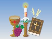 Hälsningkort med det kristna religiontecknet och symbol stock illustrationer