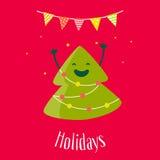 Hälsningkort med det roliga julträdet och girland med med flaggor Plan design vektor Fotografering för Bildbyråer