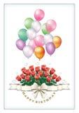 Hälsningkort med en bukett av rosor för födelsedag Royaltyfri Fotografi