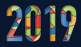 Hälsningkort 2019 med en mängd av färger på en svart bakgrund royaltyfri illustrationer