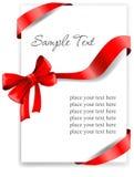 Hälsningkort med ett rött band Royaltyfri Fotografi