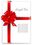 Hälsningkort med ett rött band Arkivbilder