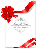 Hälsningkort med ett rött band Royaltyfria Foton