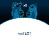 Hälsningkort med förälskade blåa fåglar Vektor Illustrationer