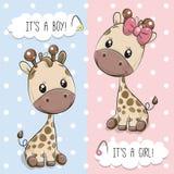 Hälsningkort med gulliga giraff vektor illustrationer