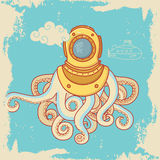 Hälsningkort med havsmonstret i dykninghjälm royaltyfria bilder