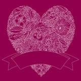 Hälsningkort med hjärta som göras av blommor Royaltyfri Bild
