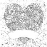 Hälsningkort med hjärta som göras av blommor Arkivfoton