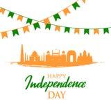 Hälsningkort med indiska gränsmärken Självständighetsdagen av Indien, 15th Augusti stock illustrationer
